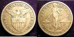 World Coins - Philippines 50 Centavos 1918-S (Inverted) VF