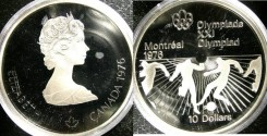 World Coins - Canada $10.00 1976 Soccer Proof, .925 Silver