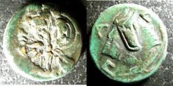 Ancient Coins - Thrace- Pantikapaion  304-250  BC AE20 Head of Pan w/ c/m,  rv. Lion, VF+ green patina