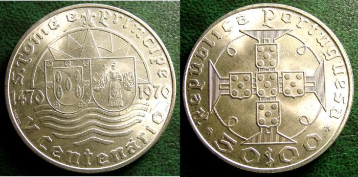 World Coins - ST.THOMAS & PRINCE 50 ESCUDOS 1970 KM#21 BU/UNC; .6500 SILVER