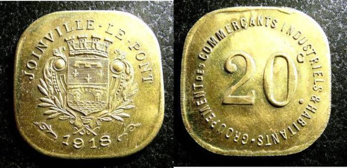 Joinville-le-Pont France  City pictures : World Coins France Notgeld Joinville Le Pont 20 Centimes 1918 BU