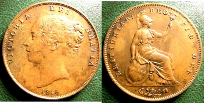 World Coins - ENGLAND 1846-OT PENNY, COLON FAR, EF