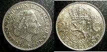 World Coins - Netherlands  2-1/2 Guilden 1959 or 1960 or 1961 Au/Unc; .720 Silver