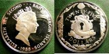 World Coins - BRITISH VIRGIN ISLANDS  25 DOLLARS 1988 ORNAMENTAL LOCK PLATE,  PROOF, .925 SILVER