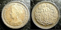 World Coins - Netherlands  10 Cents 1919  EF