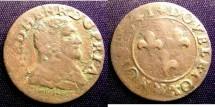 World Coins - France- Orange 1641 Double Tournois F+