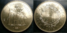 World Coins - FRANCE 50 FRANCS 1974-1980 KM#941.1 BU/UNC. .900 SILVER, .8680 OZ. ASW.