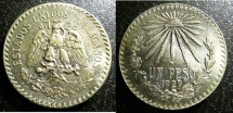 World Coins - Mexico  Peso 1927 Unc;  .720 Silver