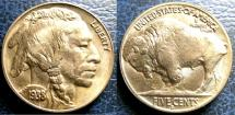 World Coins - UNITED STATES BUFFALO NICKEL 1938 D/S MS-63+, ERROR