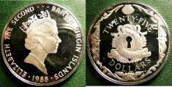 World Coins - BRITISH VIRGIN ISLANDS  25 DOLLARS 1988 ORNAMENTAL LOCK PLATE,  PROOF, .925 SILVER
