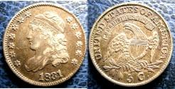 Us Coins - USA CAPPED BUST HALF DIME 1831 AU-50