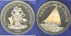 World Coins - Bahamas 25 Cents 1970 or 1974  Proof