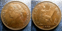 World Coins - ENGLAND 1878 FARTHING S#3958 EF