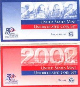 US Coins - Mint Set 2002 Bu/Unc; government packaging