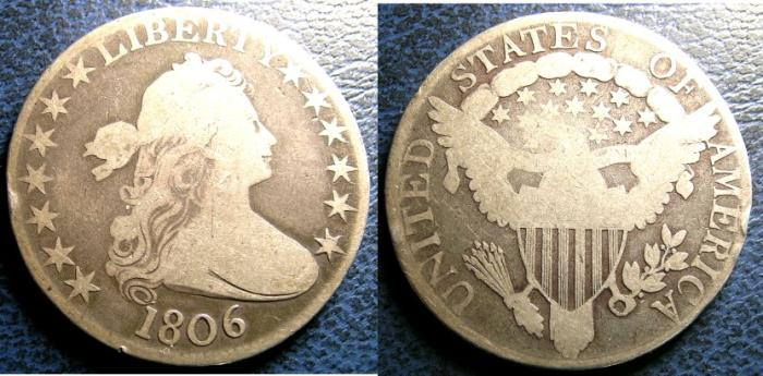 US Coins - DRAPED BUST 1/2 DOLLAR 1806 VG-8