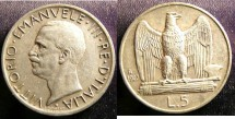World Coins - Italy 5 Lire 1927-R EF, .835 Silver
