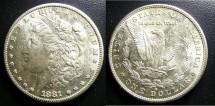 Us Coins - MORGAN DOLLAR 1881-S  MS-63, .900 Silver