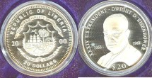 World Coins - Liberia  $20.00  2000 Dwight D. Eisenhower Proof, .999 Silver
