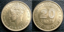 World Coins - MALAYA 20 CENTS KM#5 AU/UNC