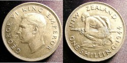 World Coins - New Zealand Shilling 1944 EF
