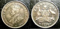 World Coins - Australia  3 Pence 1916-M,  EF