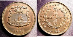 World Coins - British North Borneo 1/2 Cent 1887 Choice Au/Unc; possible brown Unc;