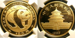 World Coins - CHINA 1983 1 oz Gold  Panda NGC MS-68