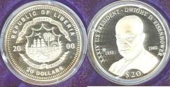 World Coins - Liberia  $20.00  2000 Dwight D. Eisenhower Proof, .999 Silver
