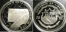 World Coins - Liberia  $20 Dollars 2001 Constitution Proof, .999 Silver