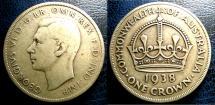 World Coins - AUSTRALIA 1938 CROWN KM#34 FINE, SCARCE