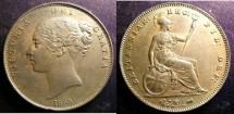 World Coins - England  Penny 1855 DEF.PT Au/Unc;