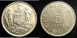 World Coins - British North Borneo  5 Cents 1941 Unc;