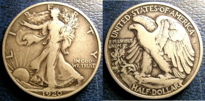 US Coins - WALKING LIBERTY 1/2 DOLLAR 1920-S VF-20