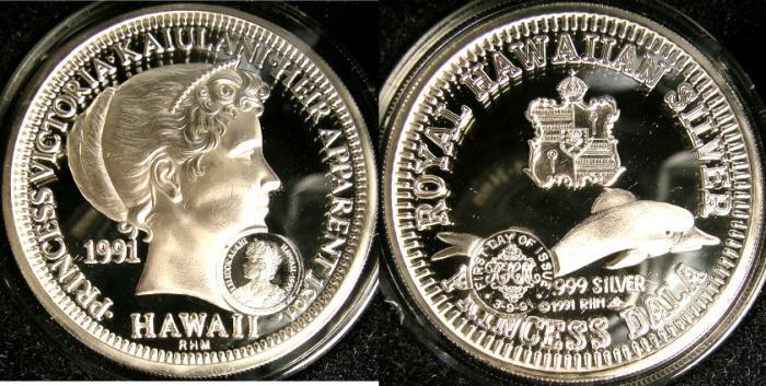 World Coins - HAWAII 1991 PRINCESS DALA, ISSUE #216 PROOF W/COUNTERMARK, W/BOX & COA