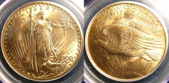 US Coins - ST. GAUDENS $20.00 GOLD 1908 NO MOTTO  PGGS MS-63