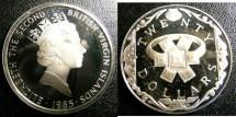 World Coins - BRITISH VIRGIN ISLANDS TWENTY DOLLARS 1985 EMERALD & GOLD RING PROOF,.925 SILVER