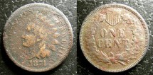 Us Coins - Indian Cent 1874  porous filler