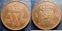 World Coins - NETHERLANDS 1876 CENT KM#100 EF