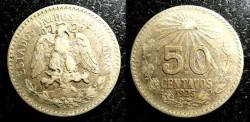 World Coins - Mexico  50 Centavos 1925 VF, .720 Silver