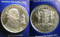 World Coins - Jamaica $10.00 1977-FM(P) Proof, Admiral George Rodney, .925 Silver