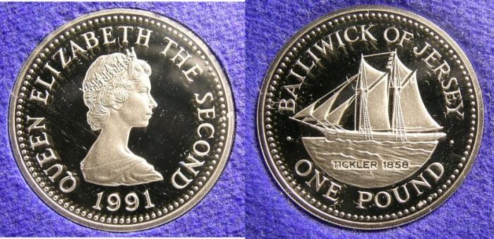 World Coins - JERSEY 1991 POUND PROOF, THE TICKLER, 11.68 GRMS, 22.5MM, .925 SILVER, BOX & COA