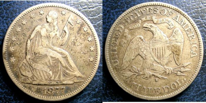 US Coins - SEATED LIBERTY HALF DOLLAR 1877-S VF-20