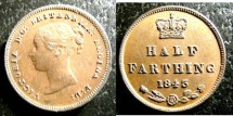 World Coins - ENGLAND  1/2 FARTHING 1843 S#3951 AU/UNC, BROWN