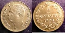 World Coins - Italy 2 Centesimi 1898-R Brown Unc;