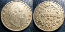 World Coins - BRITISH INDIA 1835 RUPEE THICK LETTERING KM#450.1 EF