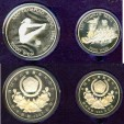 World Coins - Korea 1987 2 Piece Set 5.000 Won, Floral Spray Prf; 10,000 Won Diving  Prf; .925 Silver, 1.5 oz. Silver w/box