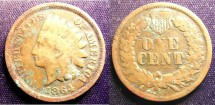 Us Coins - Indian Cent 1864 Bronze G-4 verdigree