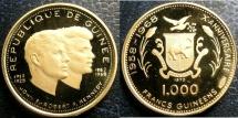 World Coins - GUINEA REPUBLIC  1970 1000 FRANCS GOLD JOHN & ROBERT KENNEDY KM-17 PROOF