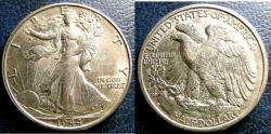 Us Coins - WALKING LIBERTY 1/2 DOLLAR 1944-S AU-50