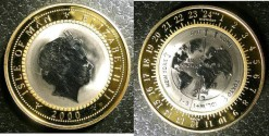 World Coins - Isle of Man Bi-Metalic Titanium Cente in Gold Ring 1/2 Crown 2000 Proof, .999 Gold, .2891 oz.
